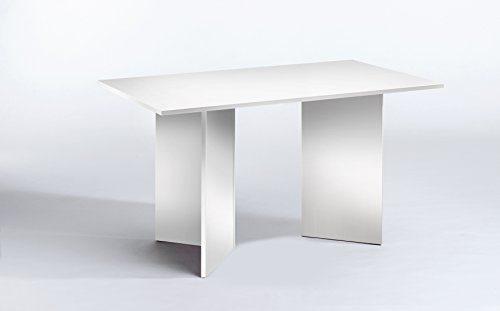 CAVADORE Tisch ANGLE/praktisch kleiner Küchentisch 140 cm breit/Moderner Esstisch in weißer Optik/Wangentisch weiß/140 x 75 x 75 cm (L x B x H)