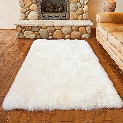 Faux Lammfell Schaffell Teppich 50 x 150 cm Flauschig Weiche Nachahmung Wolle Teppich Longhair Fell Optik Gemütliches Schaffell Bettvorleger Sofa Matte (Weiß)