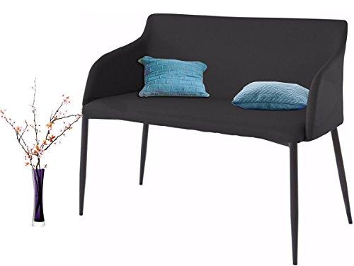 Loft24 NONI Sitzbank Sofabank Polsterbank Sofa Couch 2 Sitzer, 106 cm Kunstleder gepolstert Skandinavisch Metallbeine (schwarz/schwarz)