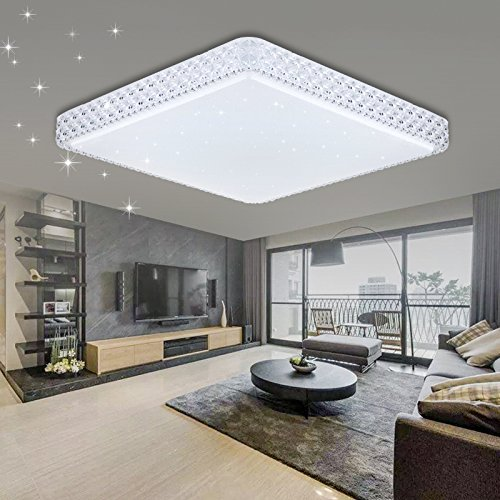 VINGO® 60W LED Kristall Deckenleuchte Sternenhimmel Kaltweiß Eckig Wohnzimmer Deckenlampe 6000K-6500K Mordern Badleuchte