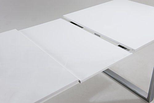 CAVADORE Ausziehbarer Kufentisch Vienna/Tisch mit in Hochglanz Weiß lackierter Tischplatte und verchromten Metallfüßen/160/205 x 90 x 76 cm (L x B x H)