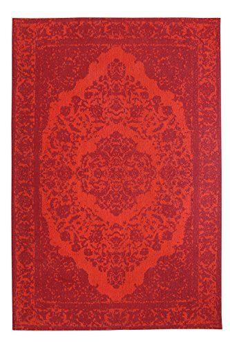 Morgenland Vintage Teppich MILANO 200 x 140 cm Rot Einfarbig Designer Moderner Teppich Klassisch Jacquard Kurzflor Shabby Chic Used Look Medaillon Orient Teppich Handgearbeitet 100% Schurwolle Wohnzimmer Flur Kinderteppich - In 7 versch. Farben, Viele Größen