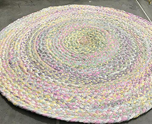 Abmessungen: 100x 100cm Rund, Pastellfarben Baumwolle Shabby Chic Kreis Teppich Rustikaler Stil für alle Räume