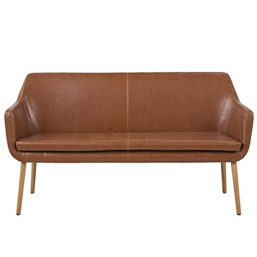 lounge-zone Sofabank Design Bank GENT Holzgestell cognac Vintage Look 159x56cm 13468