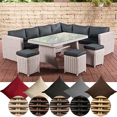 CLP Gartengarnitur SIENA | Sitzgruppe mit 8 Sitzplätzen | Gartenmöbel-Set aus Polyrattan | In verschiedenen Farben erhältlich Bezugsfarbe: Anthrazit, Rattanfarbe: Perlweiß
