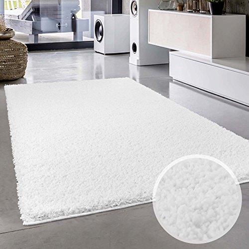 Shaggy-Teppich, Flauschiger Hochflor Wohn-Teppich, Einfarbig/ Uni in Weiß für Wohnzimmer, Schlafzimmmer, Kinderzimmer, Esszimmer, Größe: Läufer 80 x 150 cm