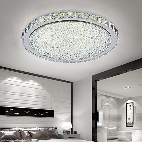 ETiME 48W Deckenleuchte Kristall LED Ø52cm Deckenlampe Rund Kaltweiß (6000K-6500K) Wohnzimmer Schlafzimmer Esszimmer Lampe (48W Ø52cm Kaltweiß)