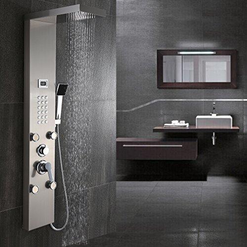 BONADE Edelstahl Duschpaneel Duschsystem Massagedüsen Wasserfall Duschset mit Aufputz inkl. Handbrause und Regendusche