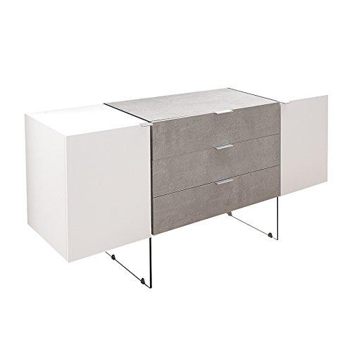 Design Sideboard ONYX weiß Beton-Optik 160cm Anrichte Board Schrank Kommode Wohnzimmerschrank
