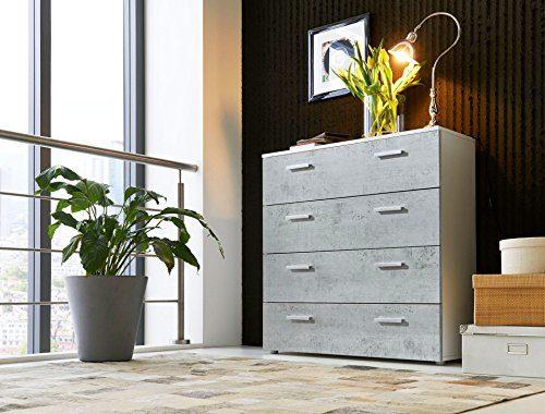 Schubladen Kommode Sideboard MARBELLA 3 in weiß (Oberboden hochglanz) mit Beton Fronten - Made in Germany -