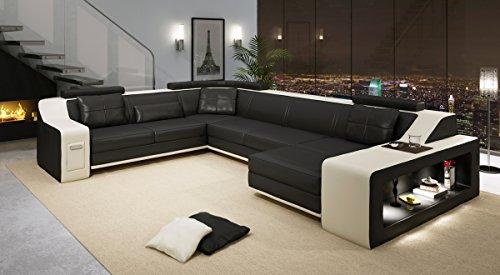 Wohnlandschaft schwarz / weiß modern Ledersofa Ecksofa Ledersofa Ledercouch Sofa Couch Eckcouch Designsofa U-Form mit LED-Licht Beleuchtung BERLIN
