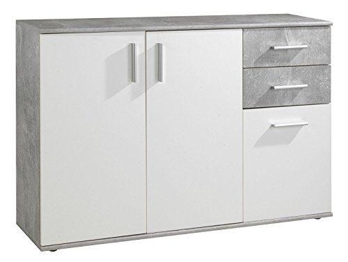Kommode Sideboard Anrichte BENITO | Weiß | Betonoptik | 2 Schubladen | 3 Türe | 120x82x35 cm