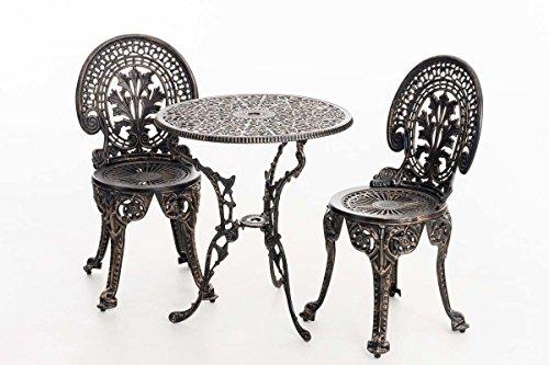 CLP Sitzgarnitur DIVARI aus Aluminium-Guss, Sitzgruppe im nostalgischen Flair, Gartengarnitur mit Tisch Ø 60 cm Bronze