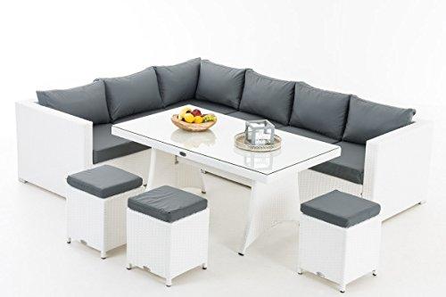 CLP Gartengarnitur SORANO   Sitzgruppe mit 8 Sitzplätzen   Gartenmöbel-Set aus Polyrattan   In verschiedenen Farben erhältlich Bezugfarbe: Eisengrau, Rattanfarbe: Weiß