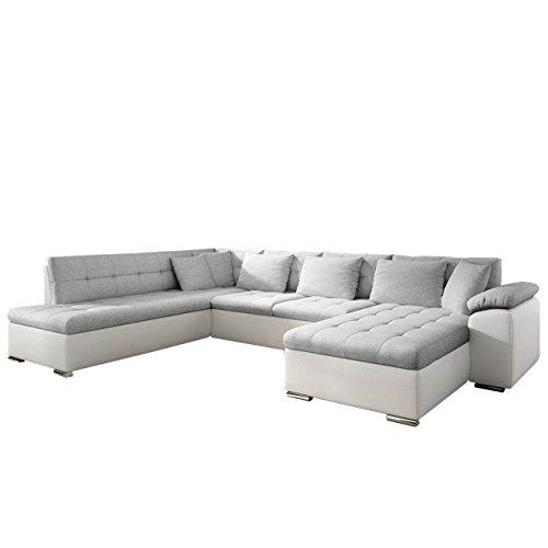 Mirjan24  Eckcouch Ecksofa Niko Bis! Design Sofa Couch! mit Schlaffunktion und Bettkasten! U-Sofa Große Farbauswahl! Wohnlandschaft vom Hersteller (Ecksofa Rechts, Soft 017 + Bahama 31)
