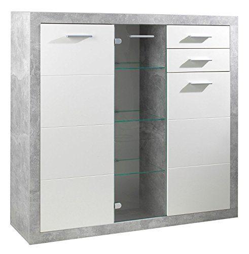 Sideboard Anrichte Mehrzweckschrank SABRINA 10 | Weiß Hochglanz | Betonoptik | Glastür | Schubladen