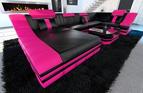 Leder Wohnlandschaft Turino U Form schwarz-pink