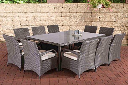 CLP Polyrattan XXL Sitzgruppe PIZZO | Gartengarnitur bestehend aus 10 Stühlen und einem Tisch | In verschiedenen Farben erhältlich Rattanfarbe: Grau, Bezugsfarbe: Creme