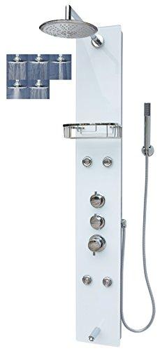 Glas Duschpaneel Duschsäule Duschsystem Regendusche Duscharmatur Handbrause Duschkopf Wanneneinlauf Massagedüsen Armatur Dusche Silber Weiß