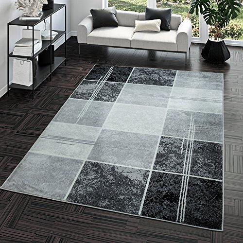 Teppich Preiswert Karo Design Modern Wohnzimmerteppich Grau Schwarz Top Preis, Größe:60x100 cm