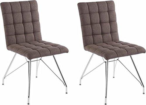CAVADORE Stuhl 2er Set ALMA/2x Esszimmerstuhl mit Stoffbezug/moderner Küchenstuhl/Webstoff Hellgrau/44 x 56.5 x 87 cm (L x B x H)
