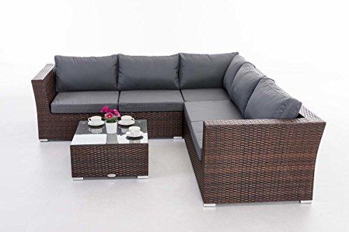 CLP Gartengarnitur TERRA   Sitzgruppe mit 6 Sitzplätzen   Gartenmöbel-Set aus Polyrattan   In verschiedenen Farben erhältlich Rattanfarbe: Braun-meliert, Bezugfarbe: Eisengrau