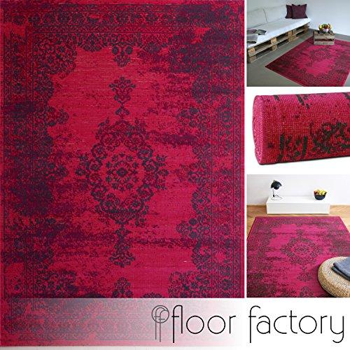 Moderner Teppich Vintage pink 140x200 cm - günstiger Velours Teppich im angesagten Shabby Chic