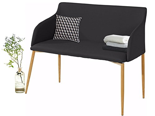 Loft24 NODIN Sitzbank Sofabank Polsterbank Sofa Couch 2 Sitzer, 106 cm Kunstleder gepolstert Skandinavisch (schwarz/Holzbeine)
