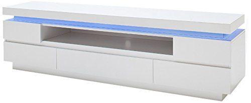 Robas Lund Lowboard, Fernsehtisch, TV-Schrank, Ocean, Hochglanz/weiß, LED, inkl. Fernbedienung, 175 x 40 x 49 cm, 48982WW8