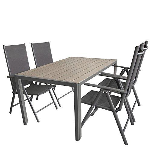 5tlg. Gartengarnitur, Aluminium Gartentisch mit Polywood-Tischplatte Grau 150x90cm + 4x Aluminium-Hochlehner mit 2x2 Textilenbespannung, 7-fach verstellbar, klappbar, anthrazit / Sitzgruppe Sitzgarnitur Gartenmöbel Terrassenmöbel