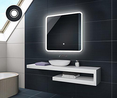 75 x 75 cm Design Badspiegel mit LED Beleuchtung von Artforma | Wandspiegel Badezimmerspiegel | TOUCH SCHALTER