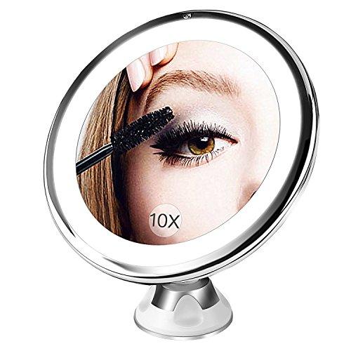 BESTOPE Kosmetikspiegel 10X Make-up Spiegel, Beleuchtet Schminkspiegel mit 10x Vergrößerung und Saugnapf, 360°Schwenkumdrehung Badspiegel, dimmbare Beleuchtung, batteriebetrieben
