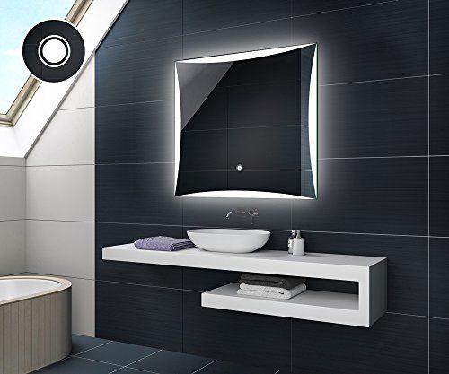 Design Badspiegel mit LED Beleuchtung Badezimmerspiegel von Artforma | Quadratisch Wandspiegel mit Touch Schalter
