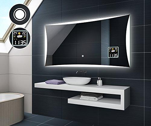 Design Badspiegel mit LED Beleuchtung von Artforma | Wandspiegel Badezimmerspiegel | WETTERSTATION S3 + TOUCH SCHALTER