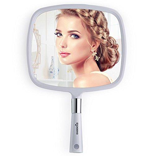 Easehold Großer Handspiegel für Frisiersalon, Wand-hängenden Spiegel, Beweglich Badspiegel und Wandspiegel (Weiß)