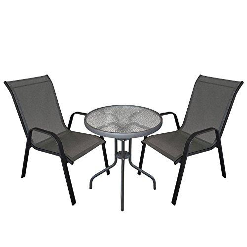 Multistore 2002 3tlg. Gartengarnitur Balkonmöbel Terrassenmöbel Set Sitzgruppe 2x Stapelstuhl Textilenbespannung + Bistrotisch geriffelte Tischglasplatte Ø60cm Gartenmöbel Sitzgruppe Sitzgarnitur