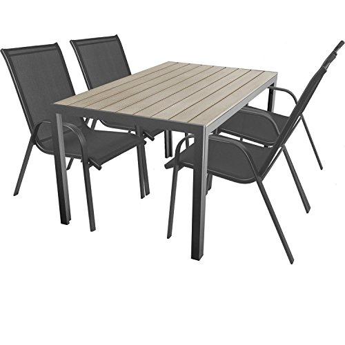 Multistore 2002 5-Teilige Terrassengarnitur Gartengarnitur Aluminium Polywood/Non Wood Gartentisch 150x90cm + 4X Stapelstuhl mit Textilenbespannung Gartenmöbel Terrassenmöbel Sitzgruppe Sitzgarnitur