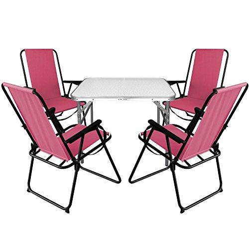 Multistore 2002 5tlg. Campingmöbel Set Aluminium Klapptisch 75x55cm + 4X Campingstühle Pink, klappbar inkl. Schultergurt, Gartenmöbel Campinggarnitur