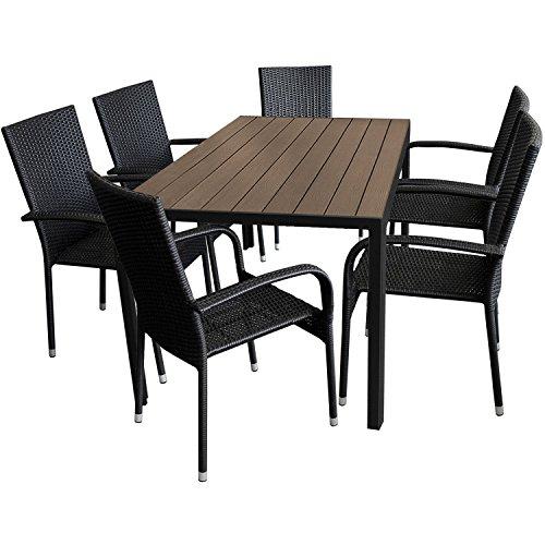 Multistore 2002 7tlg. Gartengarnitur Aluminium Gartentisch 150x90cm mit Polywood Tischplatte stapelbare Polyrattan Gartenstühle
