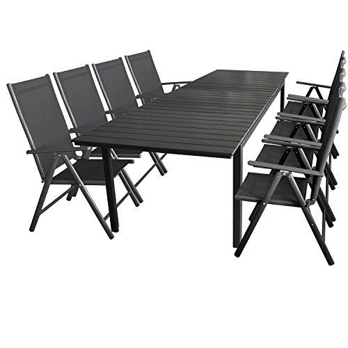Multistore 2002 9tlg. Gartengarnitur Aluminium Gartentisch mit Polywood-Tischplatte Ausziehbar 280/220x95cm + 8X klappbare Hochlehner mit 2x2 Textilenbespannung, Rückenlehne 7-Fach Verstellbar