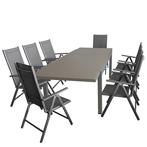 Multistore 2002 9tlg. Gartengarnitur, Ausziehtisch, 180/250x100cm, Aluminiumrahmen Taupe, Tischglasplatte + 8X Alu Hochlehner, Textilenbespannung, 7-Fach Verstellbar