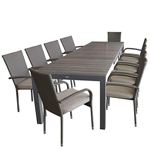 Multistore 2002 Gartengarnitur Ausziehtisch, Aluminiumrahmen, Tischplatte Polywood, 205/275x100cm, Grau + 10x Rattanstuhl, Polyrattanbespannung Grau, stapelbar + 10x Sitzkissen, Beige Strukturiert