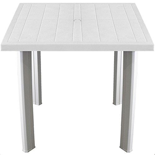 Multistore 2002 Praktischer Gartentisch 80x75cm Kunststofftisch Campingtisch Beistelltisch Kunststoff Gartenmöbel Campingmöbel - Weiss
