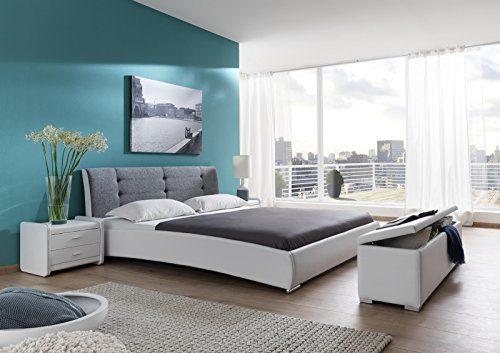 SAM Design Polsterbett 200x200 cm Bastia in weiß/grau, Kopfteil abgesteppt, als Wasserbett verwendbar