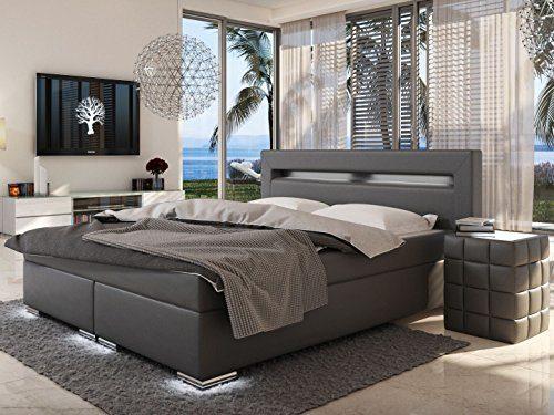 SAM® LED-Boxspringbett 180x200 cm, Austin, Kunstleder grau, Bonellfederkern-Matratze H3, Topper, LED-Beleuchtung an…