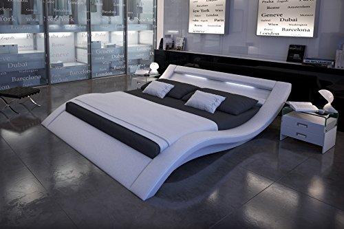 sam led polsterbett 160x200 cm look wei bett aus kunstleder led beleuchtung im kopfteil. Black Bedroom Furniture Sets. Home Design Ideas
