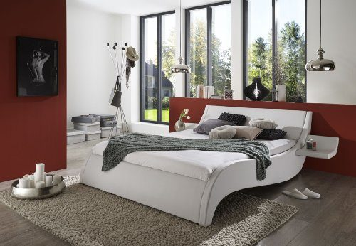 SAM Polsterbett 140x200 cm Murcia in weiß, Bett mit gepolstertem Kopfteil, modernes Design