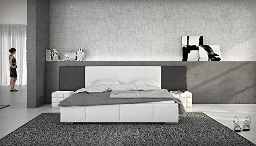 SAM Polsterbett 140x200 cm Natal, weiß/schwarz, integriertes Soundsystem im Kopfteil, Bett aus Kunstleder, hohes Kopfteil