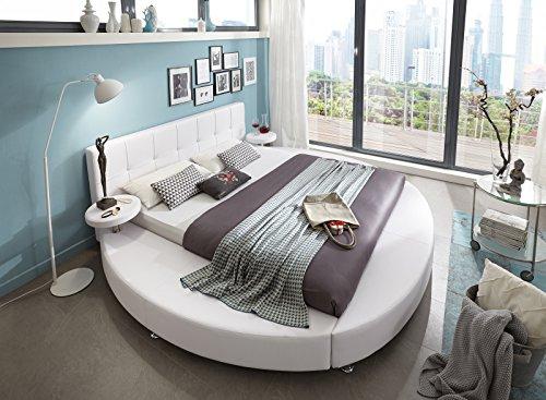 SAM Rundbett, 160 x 200 cm, Polsterbett in Weiß Lederoptik, pflegeleicht, abgestepptes Kopfteil, Bett mit integrierten Nachttischen