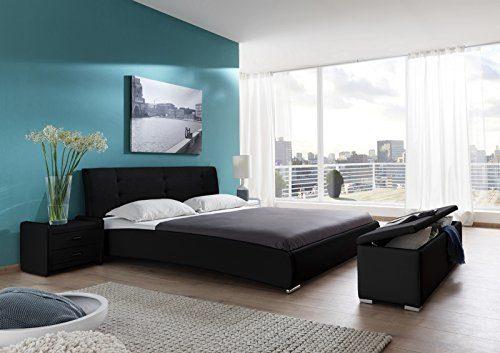 SAM Polsterbett 200x220 cm Bastia, schwarz, Kunstleder, abgestepptes Kopfteil, Chromfüße, als Wasserbett geeignet